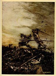 Batalla final entre Arturo y Mordred, obra de Arthur Rackham