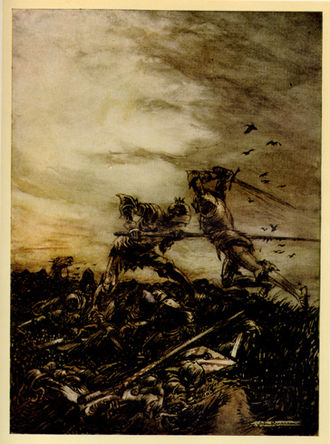 Battle of Camlann - How Mordred was Slain by Arthur, and How by Him Arthur was Hurt to the Death, by Arthur Rackham (1917)