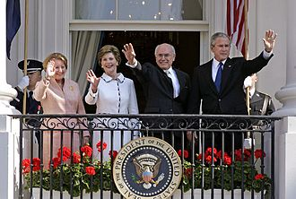 Foreign relations of Australia - Prime Minister of Australia, John Howard, with US President George W. Bush on 16 May 2006, during Howard's seventh official visit to the White House as Prime Minister. From left to right: the Prime Minister's wife Janette Howard, former US First Lady Laura Bush, Howard and Bush.