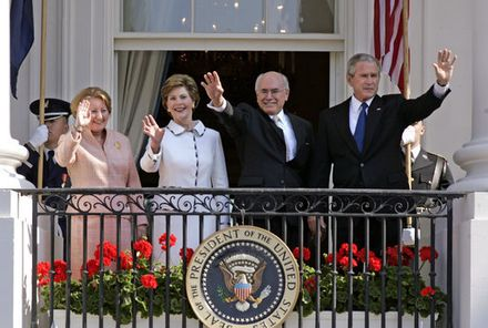 Prime Minister of Australia, John Howard, with US President George W. Bush on 16 May 2006, during Howard's seventh official visit to the White House as Prime Minister. From left to right: the Prime Minister's wife Janette Howard, former US First Lady Laura Bush, Howard and Bush. Howard and Bush.jpg