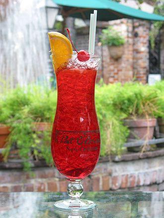 Hurricane glass - Hurricane cocktail in a Souvenir Hurricane Glass at Pat O'Brien's Bar in New Orleans