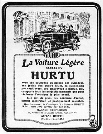 Hurtu - Advertisement for the 1924 Hurtu