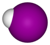 Space-filling model of hydrogen iodide