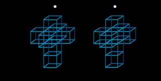 3D Crossed Eyes (geen bril nodig) ontwapend Hypercube