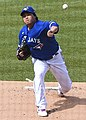 Hyun-jin Ryu throws out the first pitch for the Blue Jays versus the Nationals at Nationals Park, July 30, 2020 (All-Pro Reels Photography) (50172713978) (cropped).jpg