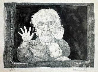 Elmar Peintner - The Window, 1983, Pencil, Aquarell on Paper, 13 x 18,5 cm