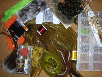 Fly tying - Illustrative selection of modern fly tying materials