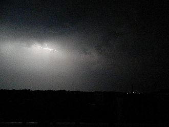 Mahmud Gawan Madrasa - Lightning during the 8 March 2015 Thunderstorm in Bidar