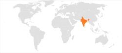 Map indicating locations of Qatar and India