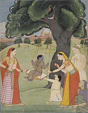Hindu Ghosi - Krishna with Yasoda and Nandji, the claimed ancestor of Ghosis