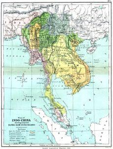 L'Indocina nel 1886, appena prima della caduta della Birmania