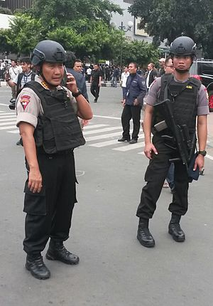 2016 Jakarta attacks - Indonesian armed Brimob Police officers during the 2016 Jakarta attacks in Sarinah, Jakarta