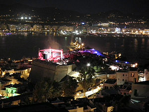 International Music Summit - The 2011 event finale seen from the Cathedral terrace in Dalt Vila.