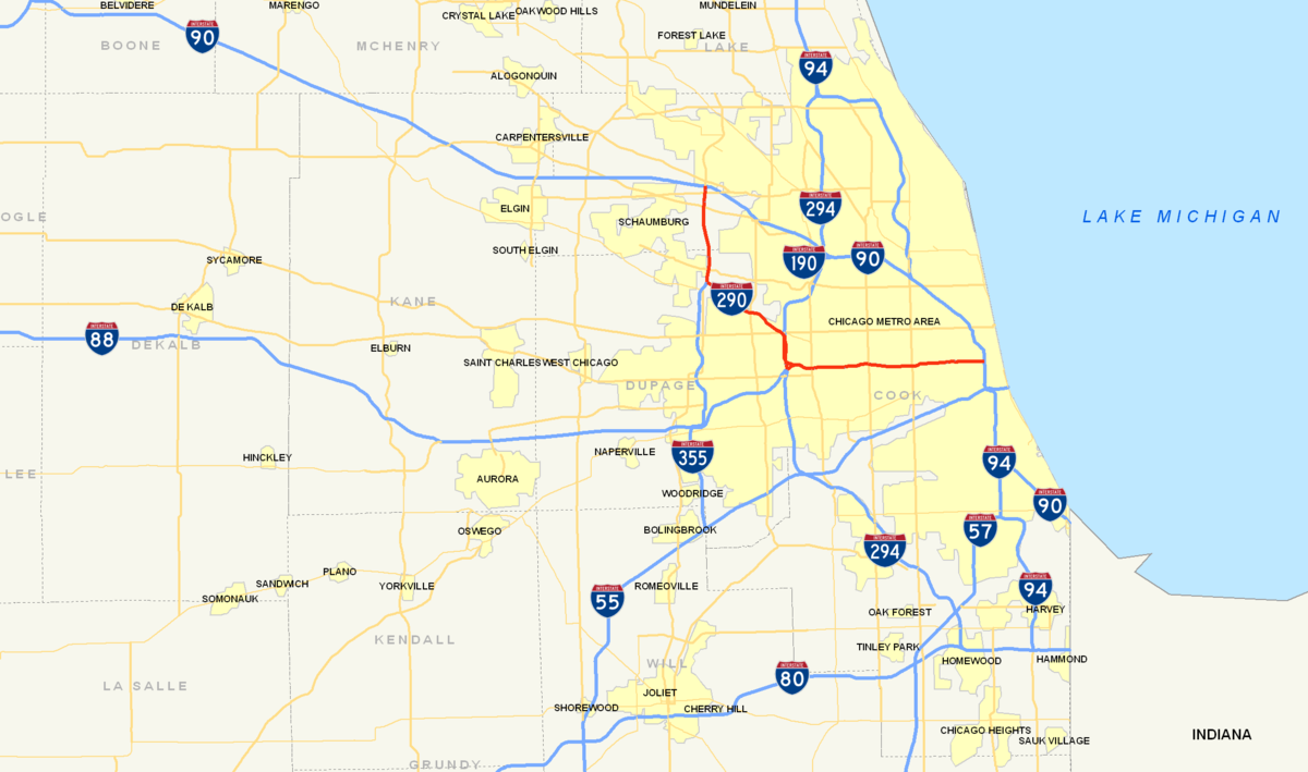 Interstate Illinois Wikipedia - Us map chicago illinois