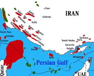 Natural gas field - location of Gas Fields of Iran