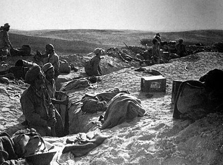 Israeli troops occupying abandoned Egyptian trenches at Huleiqat, October 1948. Israelis at Faluja.jpg