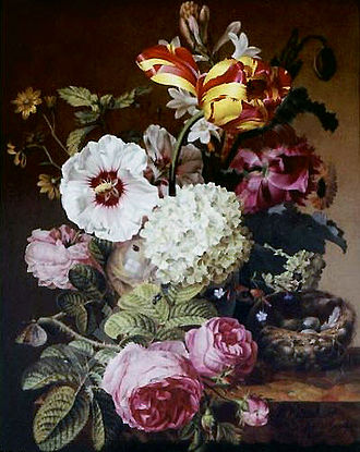 Jacques Barraband - Still life on porcelain by Jacques Barraband, 1797