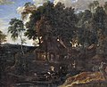 Jacques d'Arthois - The Sonian forest with farmhouses, peasants, cows and goats at a watering hole.jpg