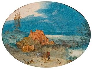 Landschap met hofstede en windmolen
