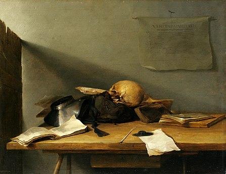 Jan Davidszoon de Heem, Still-life with Books and Skull (Vanitas)