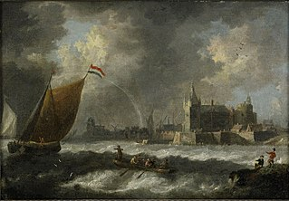 Coastal landscape with sailboats and Antwerp in the background