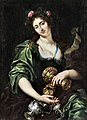 Jan van den Hoecke - The Libyan sibyl asf a courtly lady with decorative silverware and gold pieces.jpg