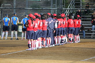 Japan women's national softball team - The Japanese side lined up during player introductions