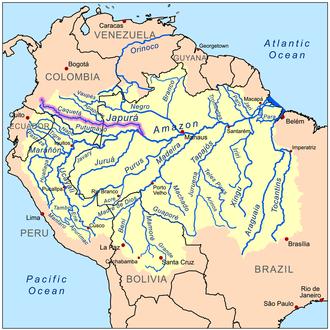 Japurá River - Image: Japurarivermap