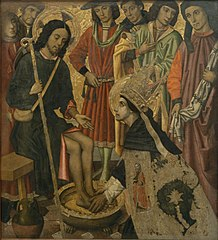Saint Augustine washing the feet to Pilgrim Jesus