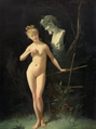 Jean Geoffroy- Nymph before the bust of a faun. 1877.png