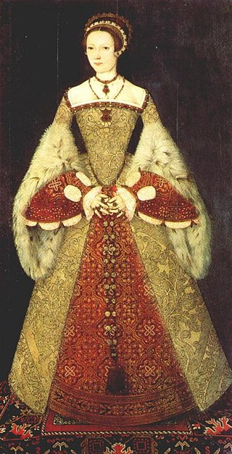 Farthingale - Tudor gown showing the line of the Spanish farthingale: portrait of Catherine Parr, 1545.