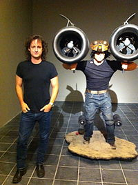 Jeff Smith with life-size RASL figure at the opening of CCAD MIX Event in Columbus, OH, Sept. 27, 2013.jpg