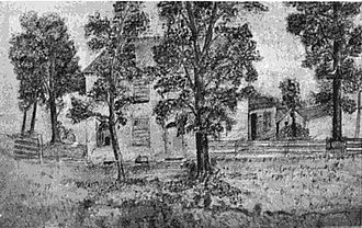 Jonathan Jennings - Drawing of the home of Jonathan Jennings while he lived in Corydon, the first official governor's residence.