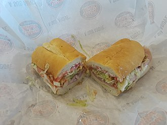"""Jersey Mike's Subs - A """"Jersey Shore's Favorite"""" - provolone, ham, and cappacuolo - on white bread"""