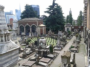Cimitero Monumentale di Milano - Jewish section, photo from above