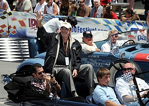 "Jim Nabors - Nabors at the Indianapolis 500 in 2008. For over 30 years, he sang ""Back Home Again in Indiana"" before the start of the race."