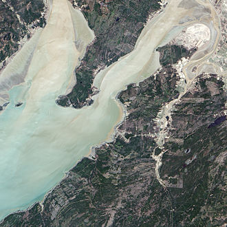 Joggins - Satellite view of the upper Bay of Fundy region, showing Joggins Cliffs and community of Joggins at centre right.