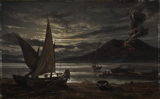 Vesuvius in eruption. Moonlight