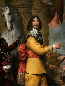 Head and shoulders colour portrait of haughty Cavalier, wearing yellow, with breastplate, lace collar and elaborate black cockade.