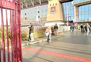 John Lyall - Sign showing 'The John Lyall Gates' at the entrance to West Ham's Boleyn Ground