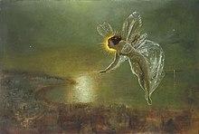 La peinture montre une petite fée aux ailes de libellules dont la tête cache en partie le Soleil. Elle se tient dans un décor brumeux.