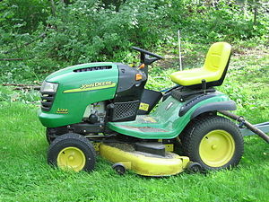 "Lawn mower - A residential riding or ""ride-on"" mower."
