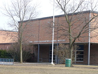 Vocational education - The John F. Ross Collegiate Vocational Institute is an institution of vocational learning in Guelph, Canada, considered one of the first in the country.
