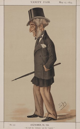 """John Laird (shipbuilder) - """"He built the 'Alabama' and the 'Captain'""""Laird as MP, caricatured by Spy (Leslie Ward) in Vanity Fair, May 1873"""