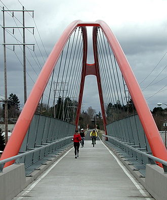 Springwater Corridor - The Springwater Trail crosses over McLoughlin Boulevard (Oregon Route 99E) near Portland's Sellwood neighborhood.