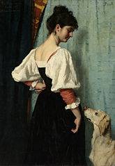 Young Italian woman with the dog Puck