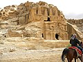 Jordan, Petra,. The Obelisk Tomb and the Bab es-Siq Triclinium. Native man with the horse.jpg