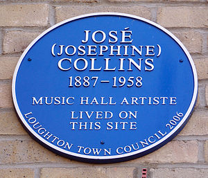 Jose Collins - Jose Collins' blue plaque, High Road, Loughton
