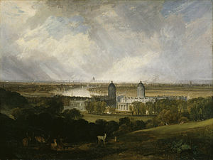 Greenwich Hospital, London - Greenwich Hospital, in the painting London from Greenwich Park, in 1809, by  William Turner