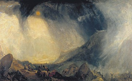 The material of legend, in Snow Storm: Hannibal and his Army Crossing the Alps, J. M. W. Turner envelops Hannibal's crossing of the Alps in Romantic atmosphere. Joseph Mallord William Turner 081.jpg